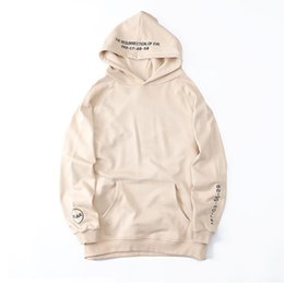 Wholesale Resurrection Man - Embroidery Letters Hoodies 2017 Resurrection of Evil Side Split Pullover Hooded Sweatshirts Hip Hop Cotton Loose Hoodie