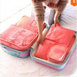 Wholesale Heart Pink Girl - Nylon Packing Cube Travel Bag System Durable 6 Pieces One Set Large Capacity Of Sports Bags Unisex Clothing Sorting Organize Bag