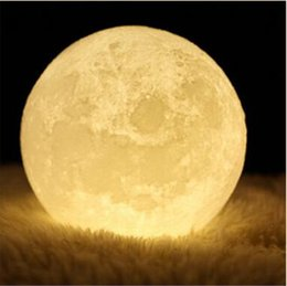 Wholesale Touch Control Night Light - 3.9 inch 3D Moon Lamp Rechargeable Lunar Night Light Touch Control Two Tone Warm and Cool Lighting with Wooden Stand & Gift Box