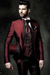 Wholesale White Italian Suits - Latest Coat Pant Designs Italian Burgundy Satin Men Suit Slim Fit Tuxedo 3 Piece Groom Suits Prom Custom