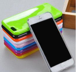 Wholesale Candy Color Silicone Iphone - Candy Color Soft TPU Gel Rubber Silicone Jelly Case Cover for iPhone 7 Plus 6 6s Plus 5 5S se Solid Color Shell 16 colors to choose
