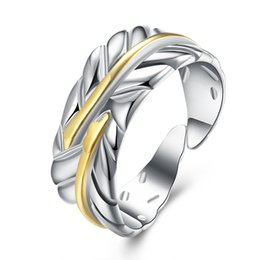 Wholesale 925 Silver Feather Ring - Free shipping Wholesale 925 Sterling Silver Plated Fashion Feather color ring - Opening Jewelry LKNSPCR020