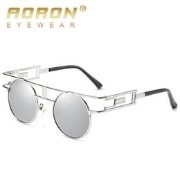 Wholesale Unique Black Sunglasses - 2017 AORON Brand Steampunk Polarized Sunglasses Men's Round Glasses Gothic Goggles Unique Women Eyewear Retro Gafas De Sol S393A