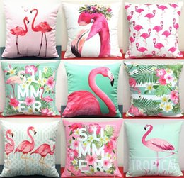 Wholesale Chocolate Birds - Tropical Paradise Flamingo Bird Cushion Cover Summer Vibes Flowers Birds Cactus Cacti Cushion Covers Sofa Throw Soft Short Plush Pillow Case