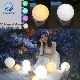 Wholesale Rechargeable Emergency Led Lights - 3D Magical Moon LED Night Light Moonlight Desk Lamp USB Rechargeable 3 Light Colors Stepless for Home Decoration Christmas