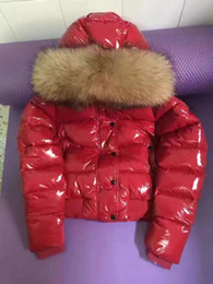 Wholesale Short Down Jacket Hood - Hot Sale Women Winte Down Jacket warm and thicker with 100 % white duck As fashion stlye real recoon biggest fur on the hood coat