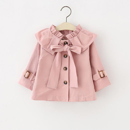 Wholesale 2t Girls Fall Clothes - 2017 Girls Coat Autumn Big Bow Knot Trench Coats Sweet Ruffle Collar Kids Outwear Fall Kids Boutique Clothing