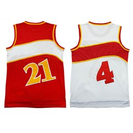 Wholesale Cheap Xxl Clothes - hot sale #4 Spud Webb jersey men's #21 Dominique Wilkins Cheap throwback basketball jerseys clothes shirt Free Shipping