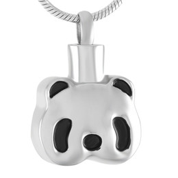 Wholesale Panda Pendant White Gold - IJD9382 Cute Panda Stainless Steel Cremation Pendant Necklace Funeral Casket Memory Ashes Keepsake Urn Necklace