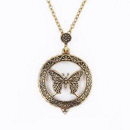 Wholesale Gold Glasses Necklace - 2017 new gold plated Vintage boho magnifying glass butterfly long chain pendant Necklace for Women Statement Jewelry wholesale Free shipping