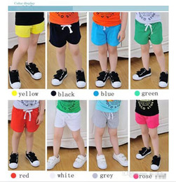 Wholesale Shorts Boy Candy - Kids summer candy color Shorts 8 colors Baby boys girls cotton brief beach pants girls trousers 5size DHL Shipping B001