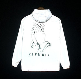 Wholesale reflective coats - 3M Reflective RIPNDIP Men Women Jacket Windbreaker High Quality Hoodie Hop Brand Clothing RIPNDIP Bomber Unisex Coat