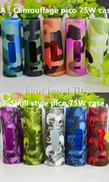 Wholesale Skull Cover Case - DHL Skull Case camouflage style Colorful Istick Pico 75W Silicone Case Skull Head Protective Sleeve Cover for Istick Pico 75W Box Mod