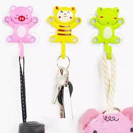 Wholesale Cartoon Hangers - New fashion cute Cartoon hooks Stick On Wall Robe Hooks Kitchen Hanger Hanging Door Bathroom Accessories