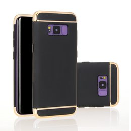 Wholesale Sumsung Galaxy Cases - For Sumsung Galaxy S8 S8 plus Case New 3 into 1 Electroplated Plating Frosted Frosting Hard PC Cases Back Cover OPP Package 6 Colors XY108