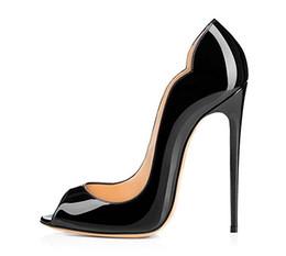 Wholesale Cheap Nude Pumps - prom pumps open toe 12 cm high heels patent leather stilettos women gorgeous heel wave side pumps hot cheap