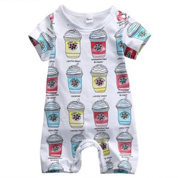 Wholesale Girls Ice Cream Top - Toddler infant baby rompers ice cream bottle jumpsuits newborn boys girls TOP bodysuits short sleeve style hot selling fast free shipping