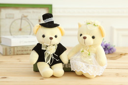 Wholesale Dolls Married - 20cm high quality lovers married wedding dolls wedding bear plush toys one pair of loves 2pcs lot