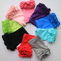 Wholesale Ruffle Elastic - mix colors and sizes lot toddle ruffle shorts candy ruffle shorties summer short leggings ruffled capris wholesale shorts bulk ruffle short
