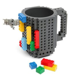 Wholesale Eco Friendly Coffee Cups Wholesale - Build-On Brick Mug Type Building Blocks Coffee Cups Novetly Cool fun DIY Block Puzzle Mugs Toys Cups Assembly Cup Coffee