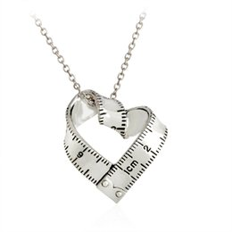Wholesale Ruler Scale - Silver Gold plated Measure Twisted Heart ruler Pendant Scale Measuring tape Necklace for Women Men Jewelry Gift Teacher Student XL247