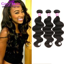 Wholesale Hair Extensions Wholesale India - Brazilian hair body wave human virgin hair extension weft remy human India hair unprocessed soft Malaysian body wave free shipping Color 1B