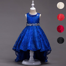 Wholesale Beading Clothing - Lace Flower Girls Dress Kids Children Teens Clothes Party Gown Wedding Bridesmaid Asymmetrical High Low Prom Princess Dress