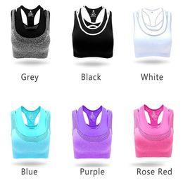 Wholesale Women Racerback Tank Wholesale - Women Sports Yoga Bras Seamless Racerback Bra Gym Fitness Tank Top Vest For Women Elastic Breathable Padded Bra Underwear