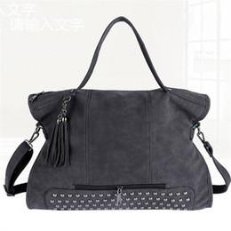 Wholesale motorcycle vintage messenger bag - Rivet Vintage PU Leather Female Handbag Fashion Tassel Messenger Bag Women Shoulder Bag Larger Top-Handle Bags Travel BagNew portable female