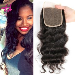 Wholesale Silk Base Top Lace Closure - 2017 Hot selling 4x4 Body Wave Lace closure virgin hair weaves Three Middle Free Part Closure Top silk based Closure Free shipping
