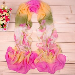 Wholesale ring delivery - Fashion new gradient flowers chiffon scarf wholesale cheap long Silk scarves factory direct sale International express delivery free shippin