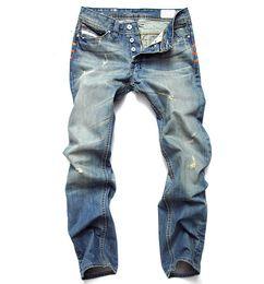 Wholesale Men Jeans Fit - Wholesale- New Fashion Men Slim Casual Pants Elastic Men`s Trousers LIght Blue Quality Fit Loose Cotton Denim Brand Jeans For Men