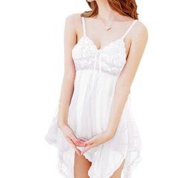 Wholesale Skirted G String - Wholesale- 2016 Summer Autumn Women Sexy Lace Belt Skirt+ Ding G-string Lingerie Dress Nightdress Robe Chemise Sleepwear Femme Nightgown HT
