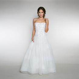 Wholesale Drop Waist Beaded Dress - Beaded Sweetheart Bodice Dropped Waist a-Line Wedding Dress 3d Flowers Applique Crystals Bridal Dress Vestido De Noiva
