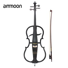 Wholesale Solid Wood Acoustic - Wholesale-ammoon Solid Wood 4 4 Electric Cello Violoncello Ebony Fittings in Style 1 with Tuner Headphone Gig Bag Stringed Instruments