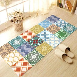 Wholesale Anti Slip Tiles - Color Waterproof Floor Sticker Geometric Imitation Tiles Pattern Anti-slip Wear-resistant Bathroom PVC Mats 2017 Fashion DIY Home Decoration