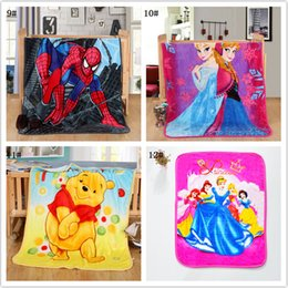 Wholesale Plush Sofa Beds - Wholesale 18 type Cartoon Lovely Plush Flannel Blanket Children's Blanket Small Size Nap Sofa Bed Air Travel Cover Kid's Child DHL free