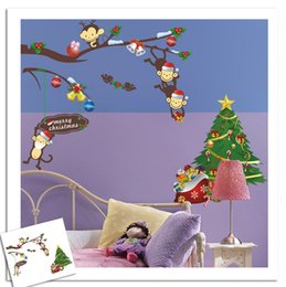 Wholesale Christmas Wall Art Decals - DIY Christmas decorations wall sticker Carved Naughty monkey Removable best wish Decorating art Sticker for child room Decor 2017 Wholesale