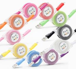 led câble smiley Promotion Téléphone ap 5/6/7 Micro USB V8 Chargeur Câble Visible LED Couleur Lumière Données Smiley Clignotant 1M Noodle Streamer Cordons de Charge pour Andriod