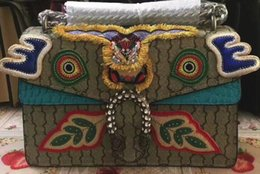 Wholesale Embroidered Leather Shoulders Bags - Women 400249 Dionysus Embroidered Shoulder Bag,PVC Canvas with Python and Crocodile,Tiger Head Closure,come with dust bag Box,Free Shipping