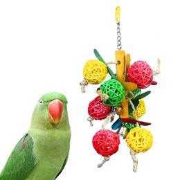 Wholesale Pet Cockatiel - Pet Parrot Vine Bite Swing Toy Colorful Bird Bell Ball Parakeet Cockatiel Chew Fun Cage Hollow Climb Toys