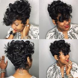 2019 perucas afro curly afro-americanas curtas Moda Feminina Glueless Profunda Curly Peruca de Cabelo Curto para o Americano Africano Perucas de Cabelo Preto Sintético Afro Encaracolado Peruca para As Mulheres kabell peruca perucas afro curly afro-americanas curtas barato