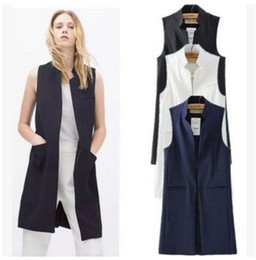 Wholesale Mandarin Collar Waistcoat - Women white black long vest coat Europen style waistcoat sleeveless jacket back split outwear casual top Roupa Female MJ62