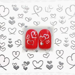 Wholesale Hearts Nail Designs - Wholesale- 1 sheet Silver Hearts 3D Design Nail Art Water Stickers Manicure Polish Decals Tips DIY Beauty Tools
