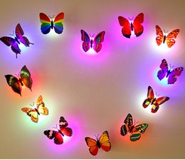 Wholesale Ceiling Christmas Decor - Lifelike Colorful Butterfly Night LED Light Dragonfly Stick-on Wall Room Indoor Decoration Night Glowing LED Ceiling Lights Holiday Decors