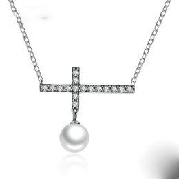 Wholesale Vintage Sterling Cross Pendant - 2017 Vintage 925 Sterling Silver 45 CM Link Chain Fashion Cross Pendant Necklace For Women