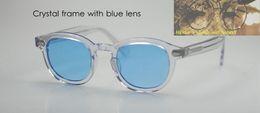 Wholesale Crystal Clear Resin - Oval Frame Retro Vintage Johnny Depp Sunglasses Crystal with Blue lens Eyeglasses Unisex Brand Designer 100%UV400 Fashion Sun Glasses HOT!