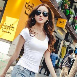 Wholesale Ms Tees - Wholesale-2016 High Elastic Regular Cotton New Summer Women's T Shirt Ladies' Short Sleeve T-shirt Ms Solid Casual Tee Shirts Plus Size