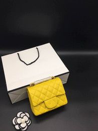 Wholesale Dresses Yellow For Women - Caviar Style Popular Yellow 2017 Genuine Leather Shoulder Bags for Women Dress Style Zig Zag Versatile Small Flap Shoulder Bags 1115