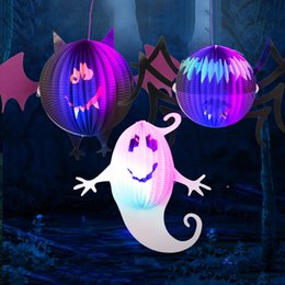 Wholesale Halloween Decoration Lantern - 3D Hallowen Decoration Lantern Huanted House Bar KTV Party Decoration Props Luminous Spider Bats Phantom Paper Solid Pumpkin Lanterns
